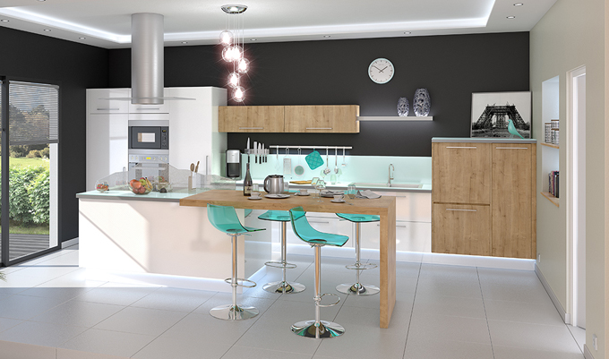 idee de couleur de cuisine cuisine bleu gris canard ou. Black Bedroom Furniture Sets. Home Design Ideas